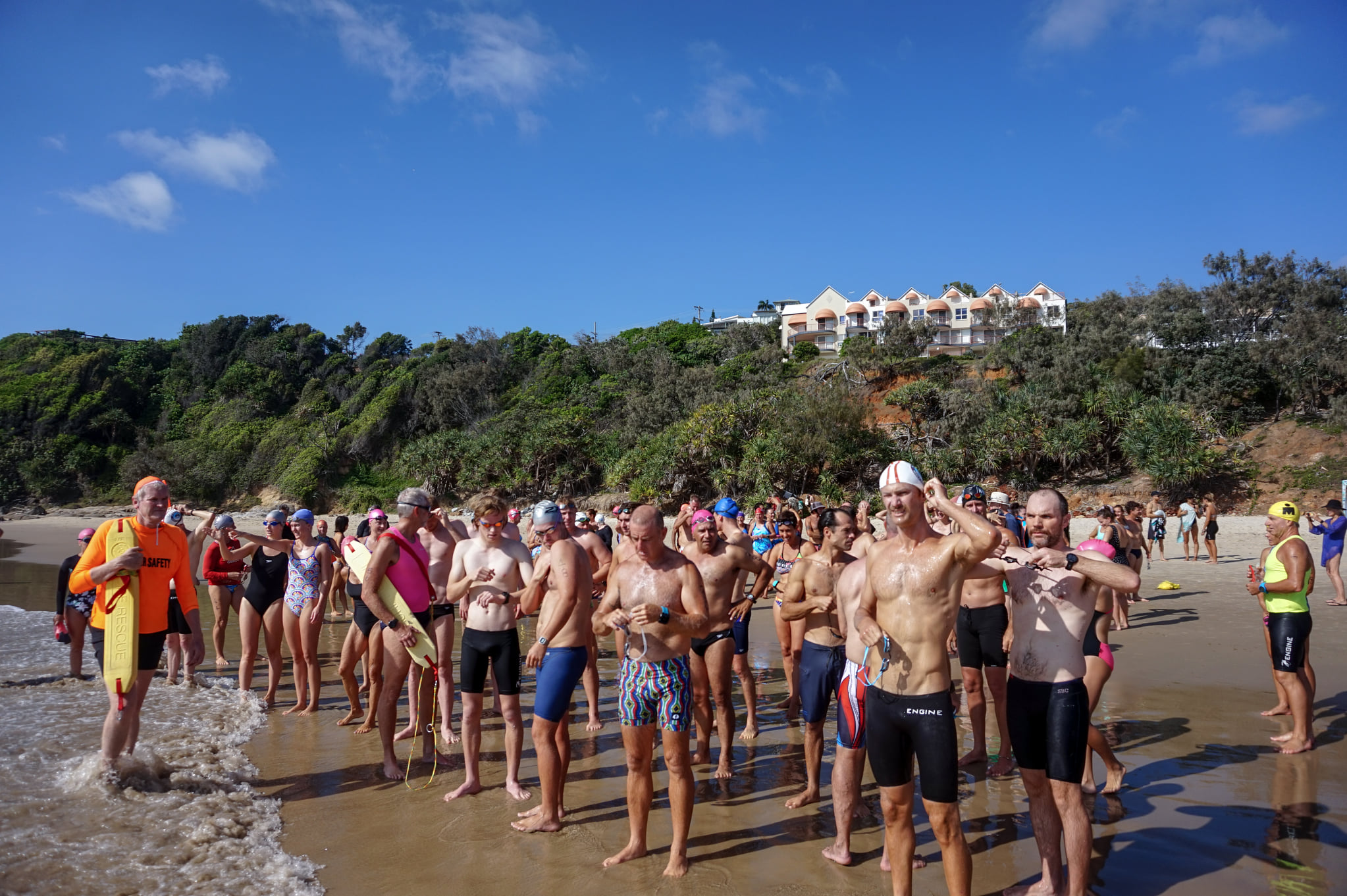 Contestants in the inaugural First Bay to Main Beach, Coolum, ocean swim event held in December 2020